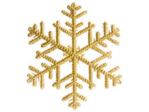 Golden snowflake. Christmas decoration golden snowflake, isolated over white Royalty Free Stock Photography