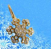 Golden snowflake background Stock Image