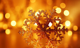 Golden snowflake Christmas tree decoration Stock Images