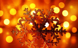Golden snowflake Christmas tree ornament Stock Photography