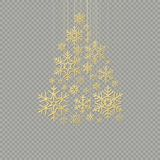 Golden snowflake Christmas tree on transparent background for greeting card Happy New Year. EPS 10 royalty free illustration