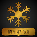Golden snowflake frame and New Year greetings Royalty Free Stock Photo