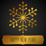 Golden snowflake frame and New Year greetings Stock Images