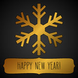 Golden snowflake frame and New Year greetings Stock Image
