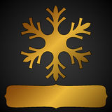 Golden snowflake frame Stock Image