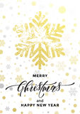 Golden snowflake glitter Merry Christmas New Year greeting card Stock Images