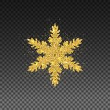 Golden Snowflake with Glittering Effect on Transparent Background. Christmas Decoration with Sparkling Light Effect. New Year 2017. And Merry Christmas Golden royalty free illustration