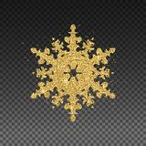 Vector golden snowflake. Glittering effect isolated on transparent background vector illustration. Golden Snowflake with Glittering Effect on Transparent stock illustration