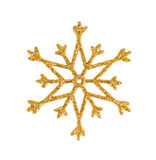 Golden snowflake isolated on white Stock Photography