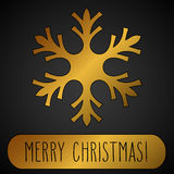 Golden Snowflake and Merry Christmas Royalty Free Stock Photo