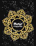 Golden snowflake.  Merry Christmas. Stylish dark greeting cards Royalty Free Stock Photo