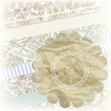 Golden snowflake on scrapbook pattern Stock Images