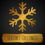 Golden snowflake Season's greetings Stock Images