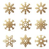 Golden Snowflake Set. Collection of winter graphic elements. Can be used for New Year and Christmas design Stock Photography