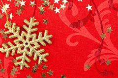 Golden Snowflake and Stars - Christmas decoration Royalty Free Stock Photography