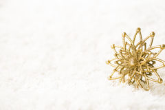 Golden Snowflake White Background, Abstract Gold Snow Flake Stock Photo