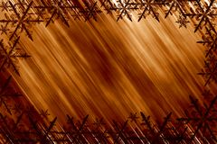 Golden snowflakes. Copper abstract background with snowflakes vector illustration