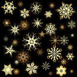 Golden snowflakes Royalty Free Stock Photography