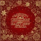 Golden  snowflakes border on red background. Golden  snowflakes border on dark red background Royalty Free Stock Images