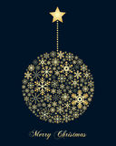 Golden Snowflakes Christmas Ball Stock Image