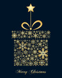 Golden Snowflakes Christmas Gift Stock Photography