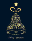 Golden Snowflakes Christmas Jingle Bell Royalty Free Stock Photos