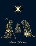 Golden Snowflakes Christmas Nativity Stock Photography