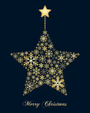 Golden Snowflakes Christmas Star Stock Photos
