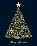 Golden Snowflakes Christmas Tree Stock Images