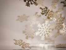 Golden snowflakes decoration.. 3D Rendering Stock Photo