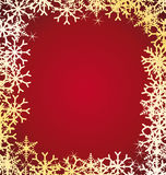 Golden snowflakes frame. Royalty Free Stock Image
