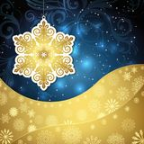 Golden snowflakes and frosty patterns on a dark blue background. Christmas background, vector illustration Stock Photos