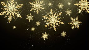 Golden snowflakes isolated on dark background. New Year and Christmas magic decoration wallpaper. Holiday banner. Or poster background. Vector illustration vector illustration