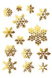 Golden snowflakes isolated elements set for postcards vector illustration