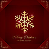 Golden snowflakes on red background Stock Photos