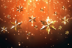Golden snowflakes on red background Royalty Free Stock Images