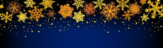 Golden snowflakes seamless Royalty Free Stock Image