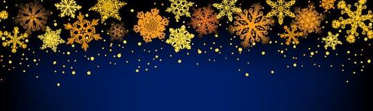 Golden snowflakes seamless Royalty Free Stock Image