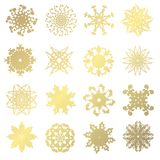 Golden snowflakes set. Set of 16 hand drawn decorative golden snowflakes, design elements. Christmas and New Year background. Winter theme vector illustration