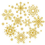 Golden snowflakes set Royalty Free Stock Photo