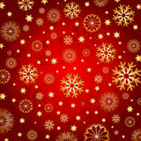 Golden snowflakes and stars Royalty Free Stock Image