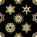 Golden Snowflakes Tiled Pattern Background Illustration Royalty Free Stock Images