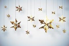 Golden snowflakes on white background Stock Image