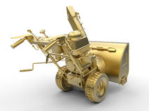 Golden snowplow. 3D rendered illustration of a golden snow blower. The illustration is focused on the details and it illustrates the back view of the device vector illustration