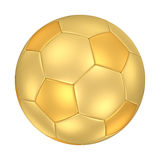 Golden Soccer Ball. A golden football isolated on white background. Computer generated image with clipping path Stock Image