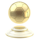 Golden soccer ball champion goblet. Isolated on white Stock Photo
