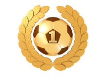 Golden Soccer ball with figure 1 in a gold Laurel wreath Royalty Free Stock Images