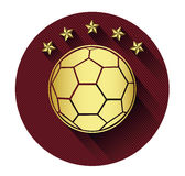 Golden soccer ball and five star icon with long shadow effect Stock Photos