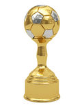 Golden soccer ball trophy on pedestal. Isolated on white. High resolution 3D image Stock Photography