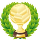 Golden soccer cup with a laureate wreath Royalty Free Stock Images